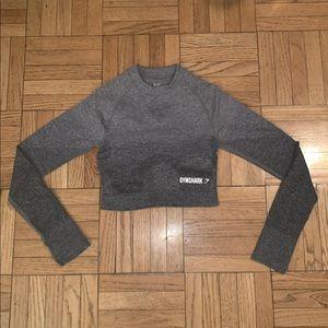 Ombre long sleeve crop grey